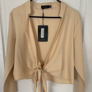 NWT Pretty little thing cream nude blouse